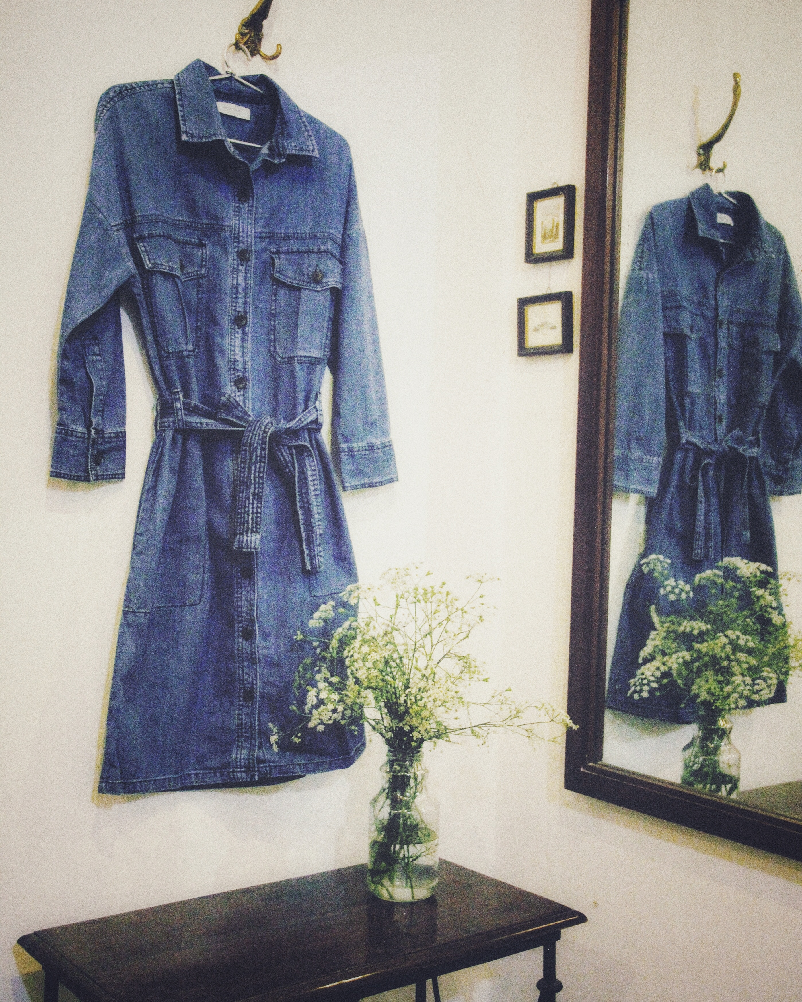 The transformation of a denim dress into an overcoat