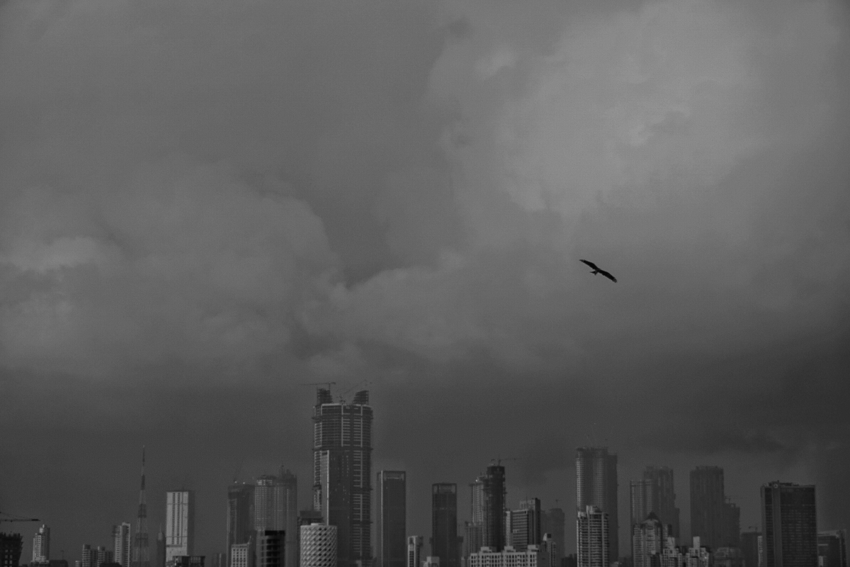 The raw beauty of monsoon as seen through this black and white picture of A black and white picture of Bombay's rain soaked city skyline.
