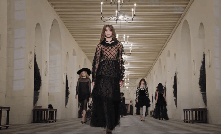 Clothes made in darker hues for the Chanel fashion show.