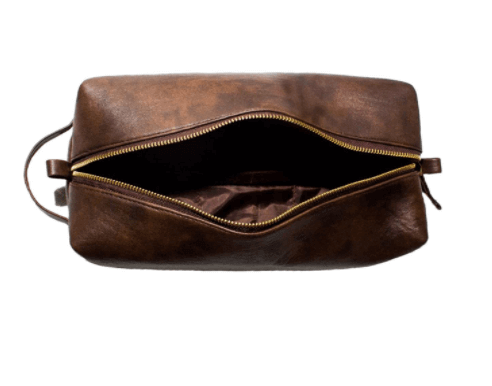 Men's PU leather brown travel toiletry pouch as. Christmas gift.
