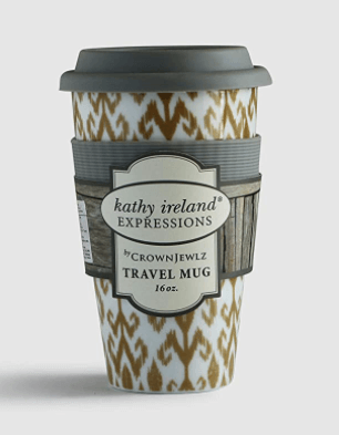 Porcelain coffee travel mug with lid as Christmas gift idea for women.